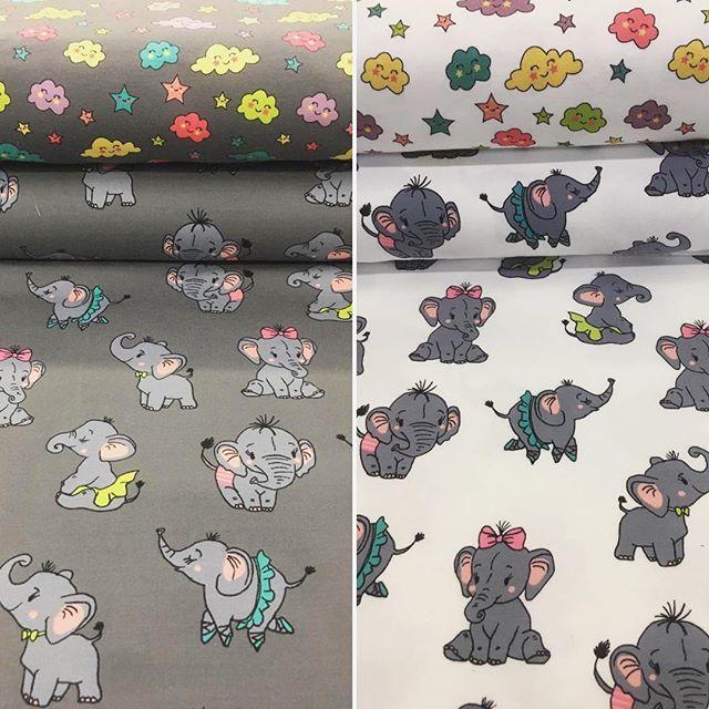 Töröööö, neue schöne Baumwoll Jersey Stoffe mit Elefantenmotive. Dazu passend der Stoff aus Wölkchen und Sterne. Süß nicht wahr? #stoffe #jersey #baumwolle #elefant #wolke #stern #nähen #diy #nähenmachtspass #kinderstoffe #stofflagergriesheim #stofflager