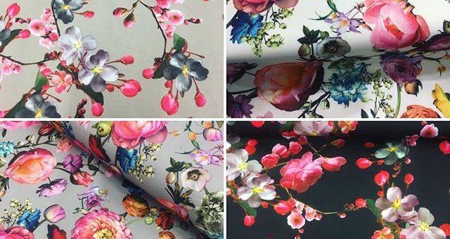 Jerseystoffe die etwas fester sind, perfekt für Hosen und Röcke.  #blume #stoffe #jersey #nähen #hosen #röcke #diy #flowerpower