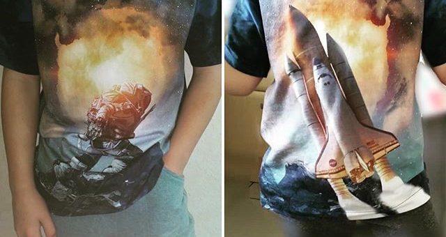 SPACE ROCKS! Wir sind überweltigt mit diesen tollen Panel Nähergebnis! Cooler Shirt! Danke an Nina Sievers